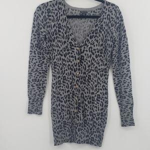 Akualani leopard print longline sweater cardigan